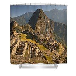 Machu Picchu At Dawn Near Cuzco Peru Shower Curtain by Colin Monteath