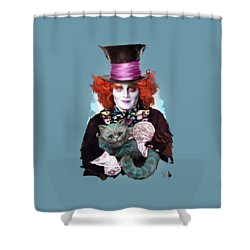 Mad Hatter And Cheshire Cat Shower Curtain by Melanie D