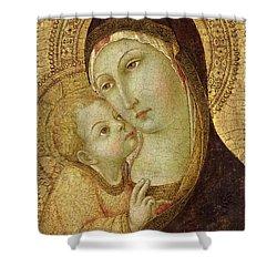 Madonna And Child Shower Curtain by Ansano di Pietro di Mencio
