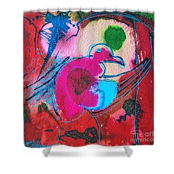 Magenta Marching Bird Shower Curtain by Ana Maria Edulescu