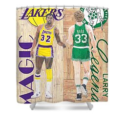 Magic Johnson And Larry Bird Shower Curtain by Chris Brown