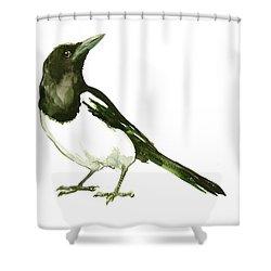 Magpie Shower Curtain by Suren Nersisyan