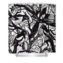 Magpies Shower Curtain by Nat Morley