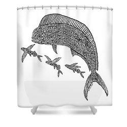 Mahi With Flying Fish Shower Curtain by Carol Lynne