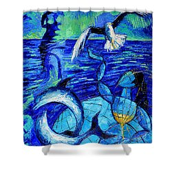 Majestic Bleu Shower Curtain by Mona Edulesco