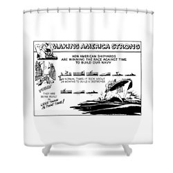 Making America Strong Ww2 Cartoon Shower Curtain by War Is Hell Store