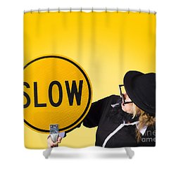 Man Holding Slow Sign During Adverse Conditions Shower Curtain by Jorgo Photography - Wall Art Gallery