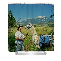 Man Teasing A Llama Shower Curtain by Jerry Voss