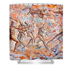 Man Unaware Of His Own Karma Shower Curtain by Darwin Leon