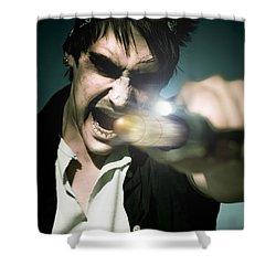 Man With Gun Shower Curtain by Jorgo Photography - Wall Art Gallery