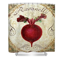 Mangia Radish Shower Curtain by Mindy Sommers