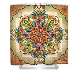Mandala Birds Shower Curtain by Bedros Awak