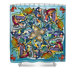 Mandala Fish Pool Shower Curtain by Bedros Awak