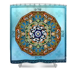 Mandala Shalom Shower Curtain by Bedros Awak