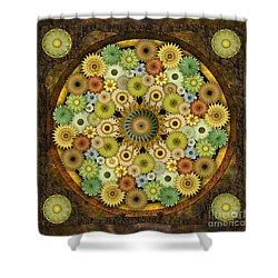 Mandala Stone Flowers Shower Curtain by Bedros Awak
