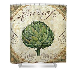 Mangia Artichoke Shower Curtain by Mindy Sommers