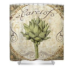 Mangia Carciofo Artichoke Shower Curtain by Mindy Sommers