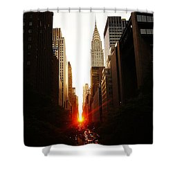 Manhattanhenge Sunset Over The Heart Of New York City Shower Curtain by Vivienne Gucwa