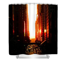 Manhattanhenge Sunset Overlooking Times Square - Nyc Shower Curtain by Vivienne Gucwa