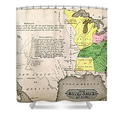 Map Of The United States Shower Curtain by John Warner Barber and Henry Hare