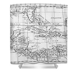 Map Of The West Indies Florida And South America Shower Curtain by English School