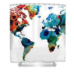 Map Of The World 6 -colorful Abstract Art Shower Curtain by Sharon Cummings