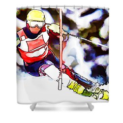Marcel Hirscher Skiing Shower Curtain by Lanjee Chee