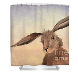 March Hare Shower Curtain by John Edwards