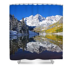Maroon Lake And Bells 1 Shower Curtain by Ron Dahlquist - Printscapes