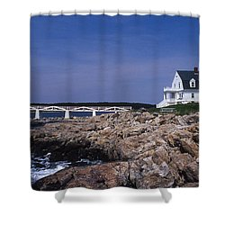Marshall Point Light Shower Curtain by Skip Willits