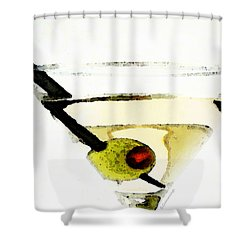 Martini With Green Olive Shower Curtain by Sharon Cummings