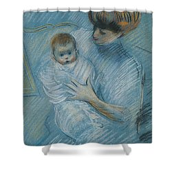 Maternity Shower Curtain by Paul Cesar Helleu