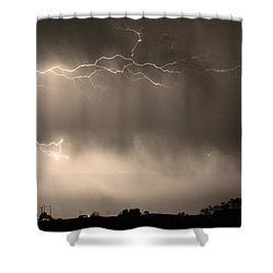 May Showers 2 In Sepia - Lightning Thunderstorm 5-10-2011   Shower Curtain by James BO  Insogna