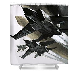 Mcdonnell Douglas F15 Eagle Jet Fighter Shower Curtain by Wilf Hardy
