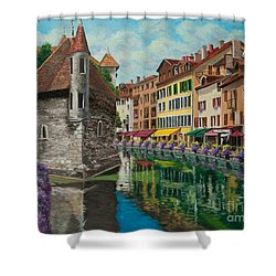 Medieval Jail In Annecy Shower Curtain by Charlotte Blanchard