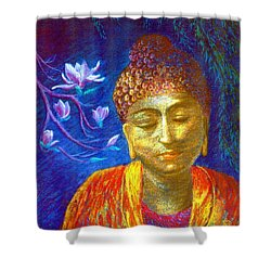 Meeting With Buddha Shower Curtain by Jane Small