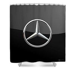 Mercedes-benz - 3d Badge On Black Shower Curtain by Serge Averbukh