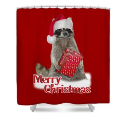 Merry Christmas -  Raccoon Shower Curtain by Gravityx9 Designs