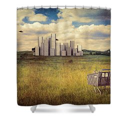 Metropolis Shower Curtain by Tom Mc Nemar