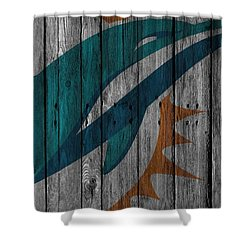 Miami Dolphins Wood Fence Shower Curtain by Joe Hamilton