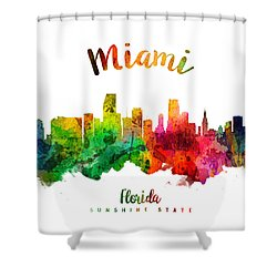Miami Florida 24 Shower Curtain by Aged Pixel
