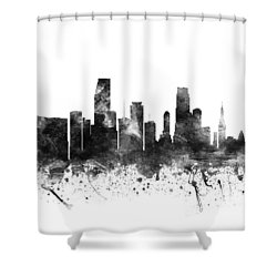 Miami Florida Cityscape 02bw Shower Curtain by Aged Pixel