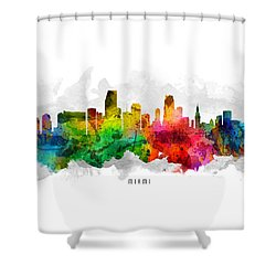 Miami Florida Cityscape 12 Shower Curtain by Aged Pixel