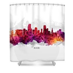 Miami Florida Cityscape 14 Shower Curtain by Aged Pixel