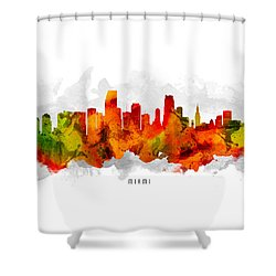 Miami Florida Cityscape 15 Shower Curtain by Aged Pixel