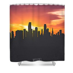 Miami Florida Sunset Skyline 01 Shower Curtain by Aged Pixel