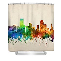 Miami Florida Skyline 05 Shower Curtain by Aged Pixel