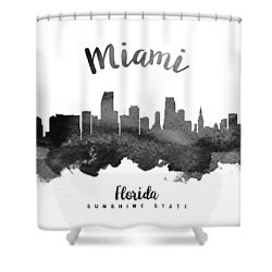 Miami Florida Skyline 18 Shower Curtain by Aged Pixel