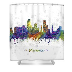 Miami Florida Skyline Color 03sq Shower Curtain by Aged Pixel