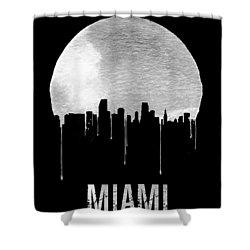 Miami Skyline Black Shower Curtain by Naxart Studio